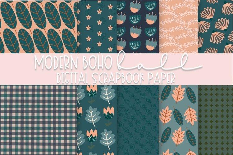 Modern Boho Fall Digital Scrapbook Paper