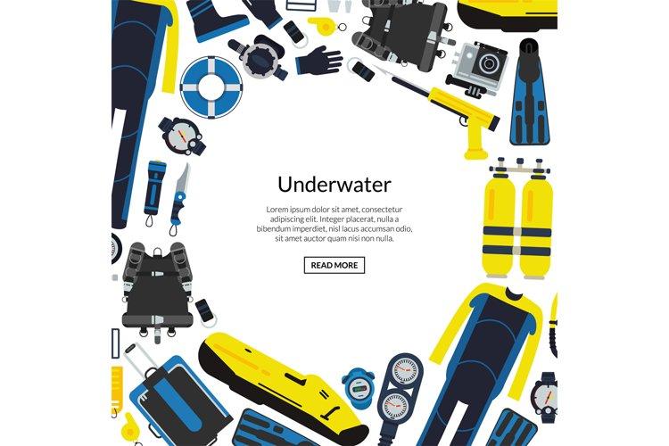 Vector underwater diving equipment illustration example image 1