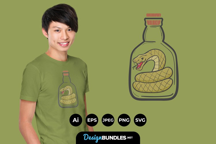 Snake in a Bottle for T-Shirt Design example image 1