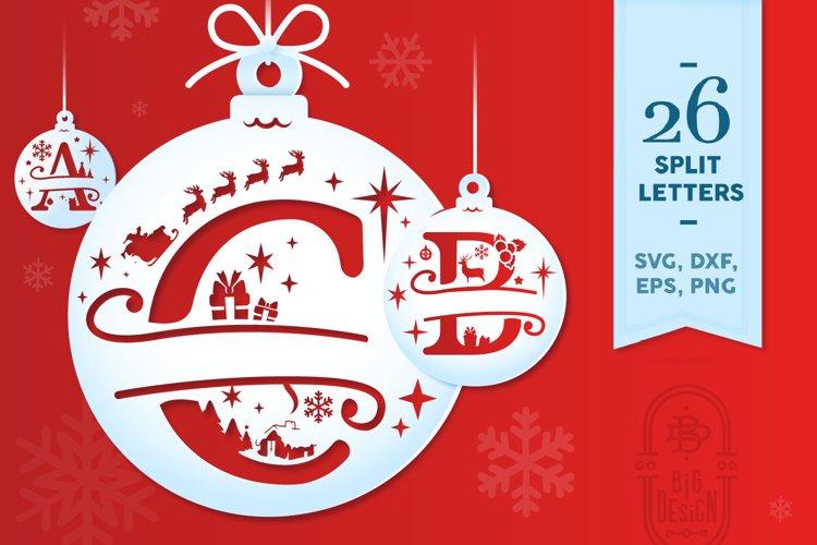 Christmas Split Letters - Christmas Ornament SVG - Monogram example image 1