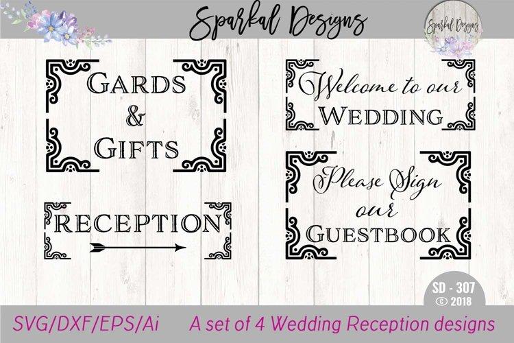 WEDDING BUNDLE - A Set of Four Reception Sign SVG Designs