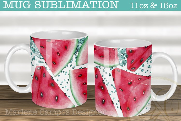 Watermelon Sublimation for Mugs /11oz, 15oz /Mint Glitter