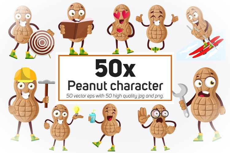 50x Peanut character or mascot in different situation