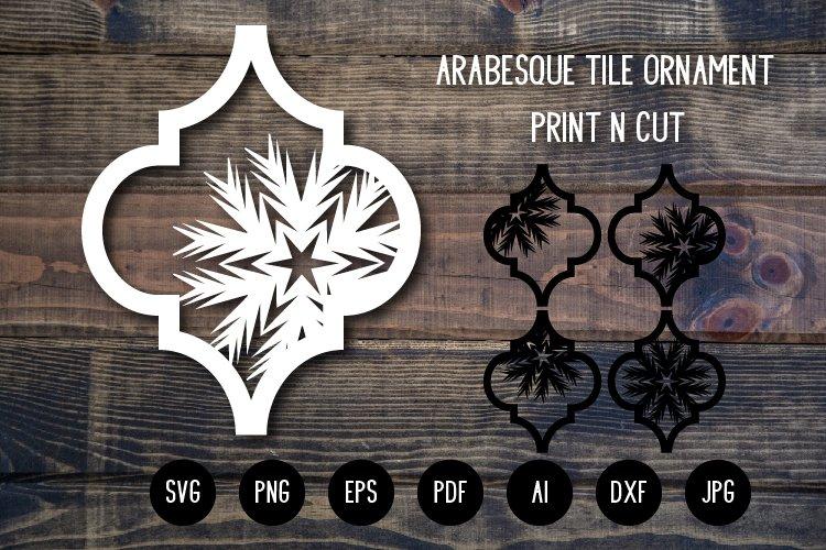 Arabesque Tile Christmas Ornament v.1. Lantern SVG Cut File example image 1