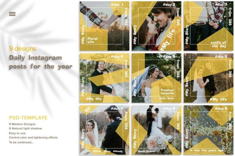 9 Instagram Posts Design Tamplates. 1-9 days.