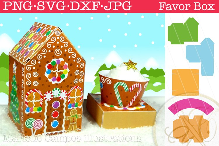 Christmas Gingerbread House Favor Box / SVG, PNG, DXF, JPG