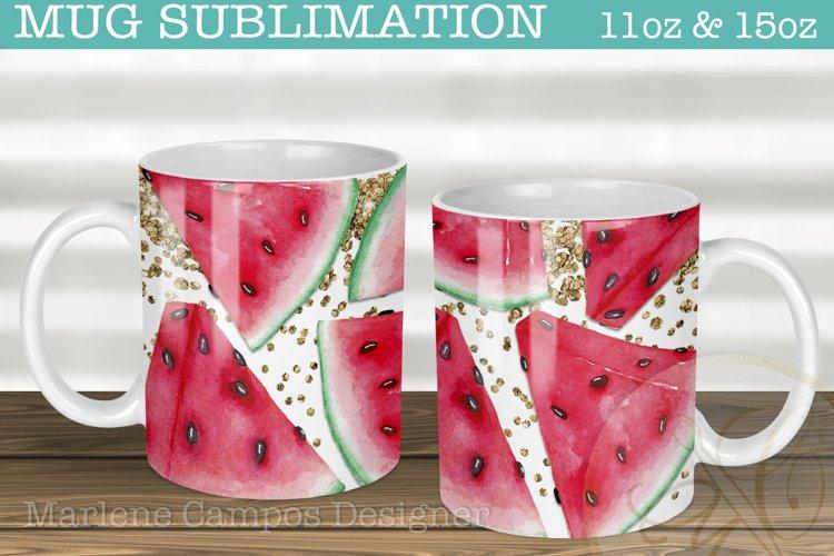 Watermelon Sublimation for Mugs /11oz, 15oz /Gold Glitter