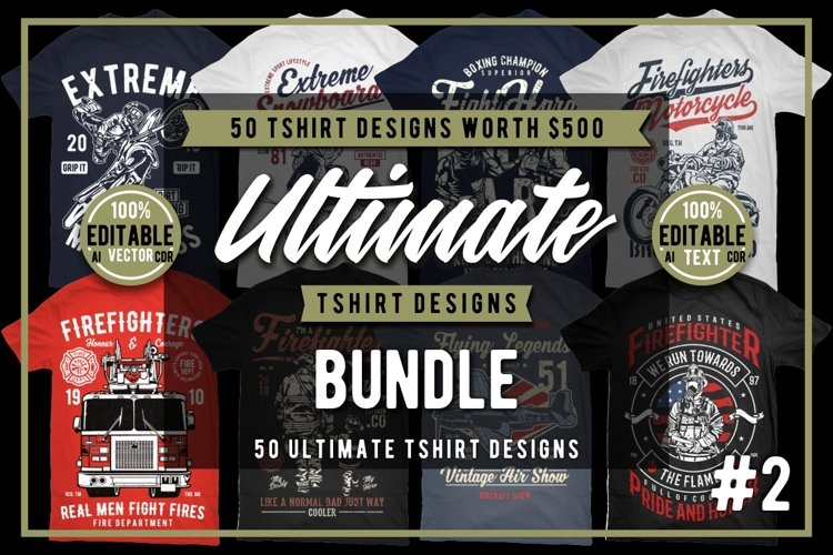 50 Tshirt Designs Bundle #2