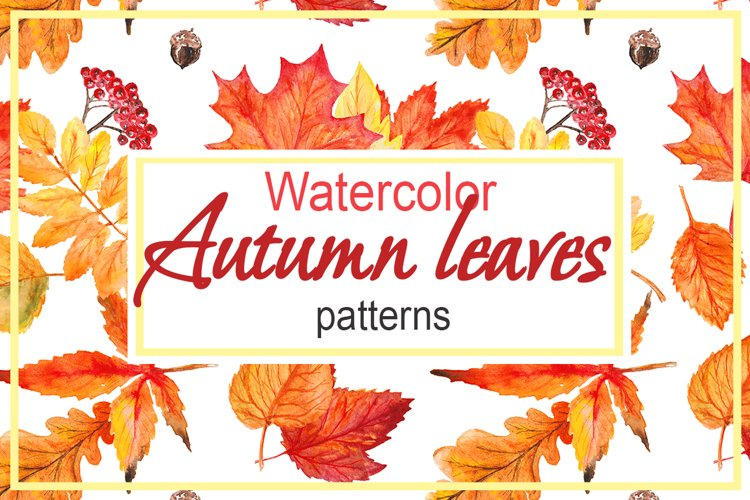 Watercolor Autumn leaves patterns example image 1