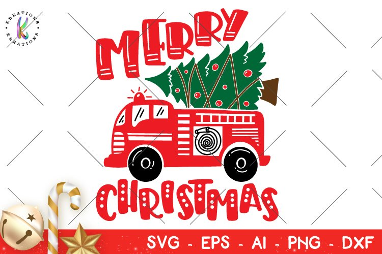 Fire Truck Christmas svg Fire Fighter Cute Kids svg example image 1