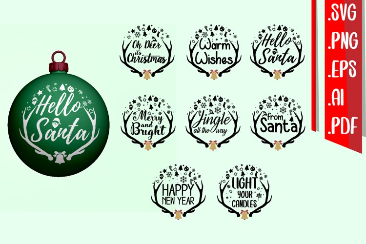Christmas Deer Text Rounded example image 1