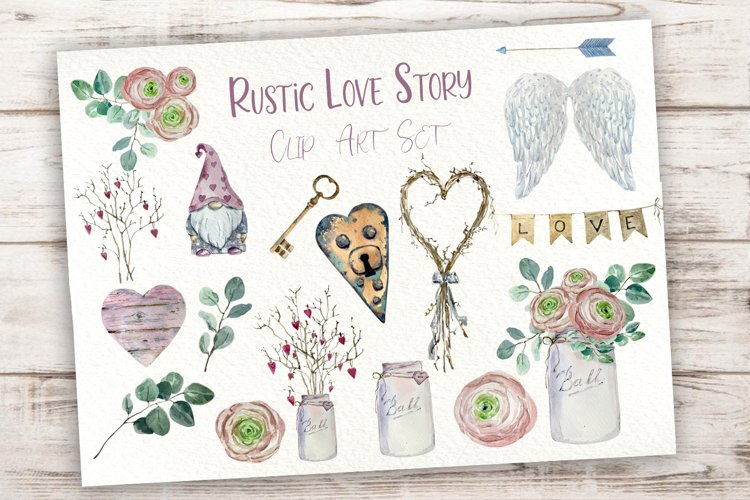 Rustic Love Story Clip Art Set