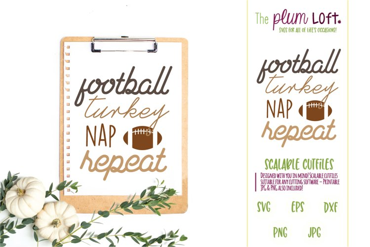 Football Turkey Nap Repeat - SVG Design example image 1