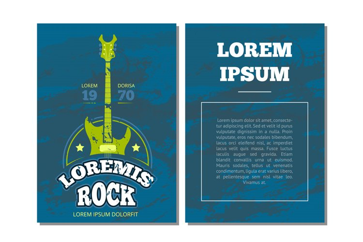 Vector card flyer with retro rock music, sound record studio example image 1