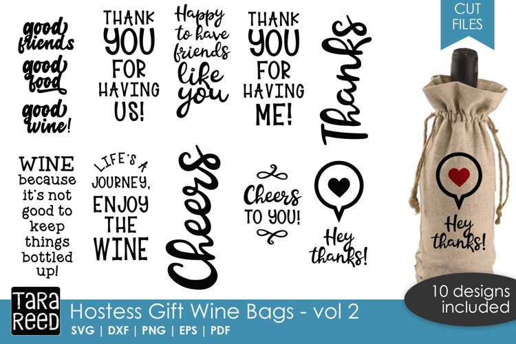 Hostess Gift Wine Bags 2 - SVG or Cut Files for Crafters