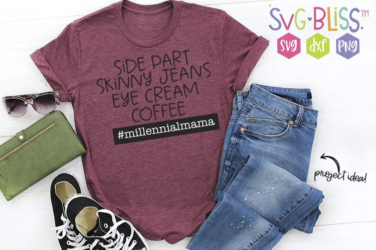Side Part & Skinny Jeans Millennial Mama SVG Cut File example image 1