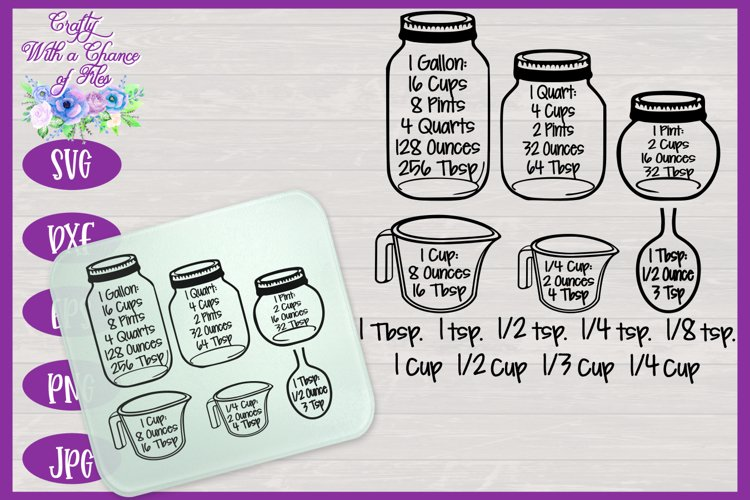 Kitchen SVG, Conversion Chart, Baking Measurement Equivalent