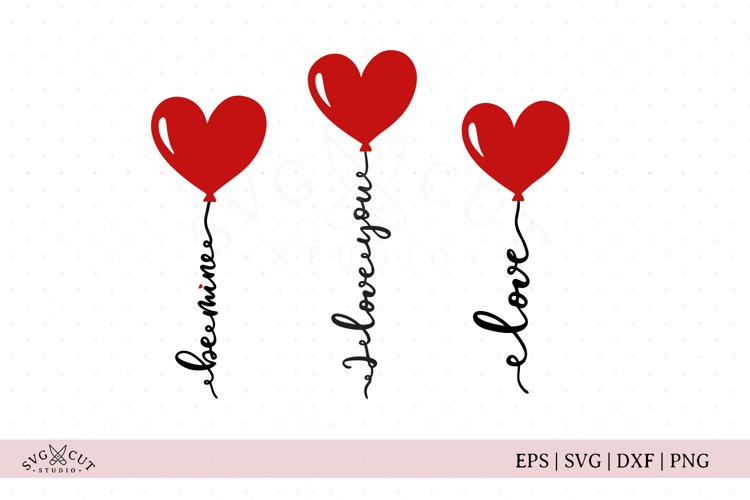 Valentines Day Heart Balloon SVG Cut Files