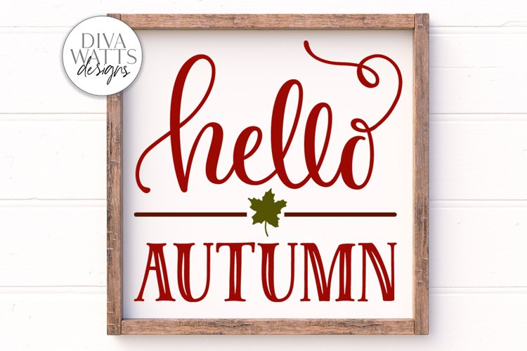 Hello Autumn SVG | Farmhouse Sign | DXF and More example image 1