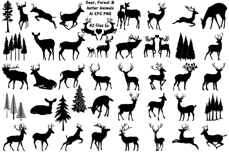 Deer, Forest and Antler Animals AI EPS PNG