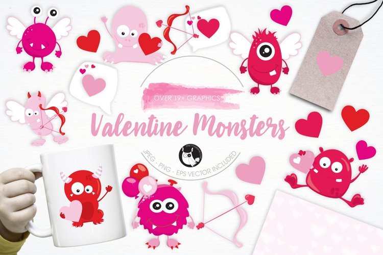 Valentine Monsters graphics and illustrations example image 1