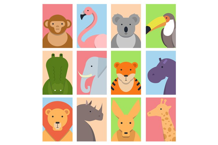 Cute square avatars with wild animals example image 1