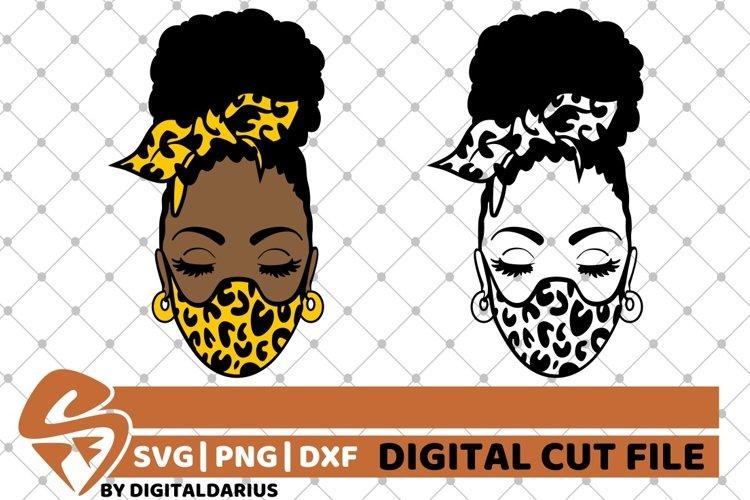 2x Black Girl in Mask Bundle svg, Leopard Prints, Melanin example image 1