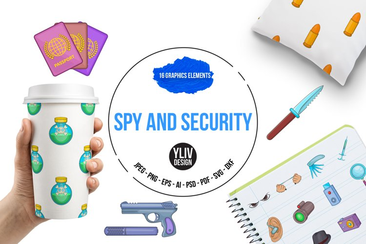 Spy and security icons set, cartoon style example image 1