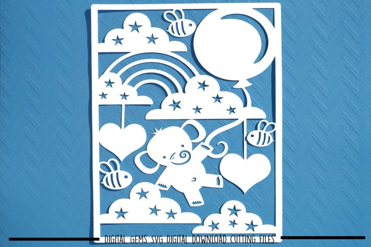 Elephant paper cut SVG  DXF  EPS files example image 1