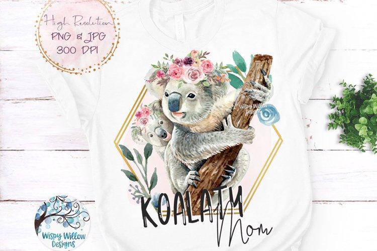 Koalaty Mom | Koala Watercolor Sublimation File PNG example image 1