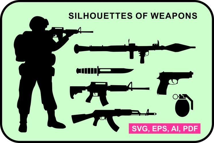 Set of weapon silhouettes example image 1