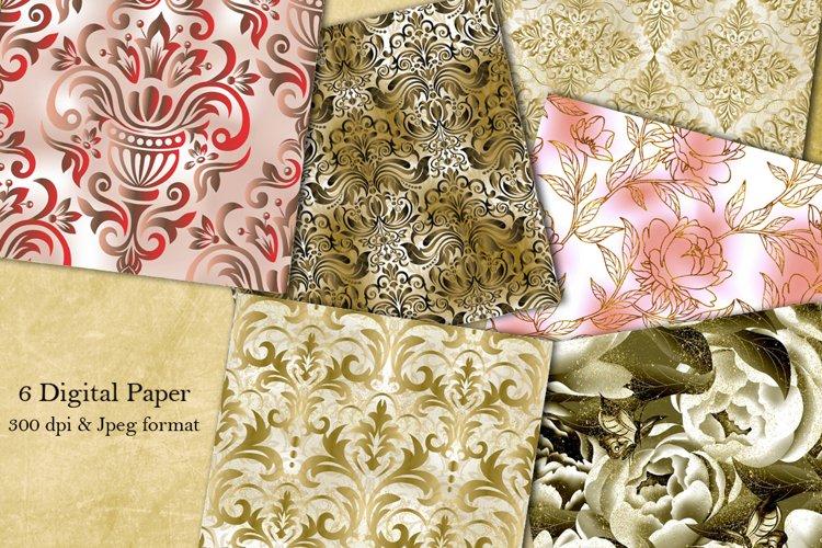 Collection Damask flower patterns . Digital Paper. Victorian
