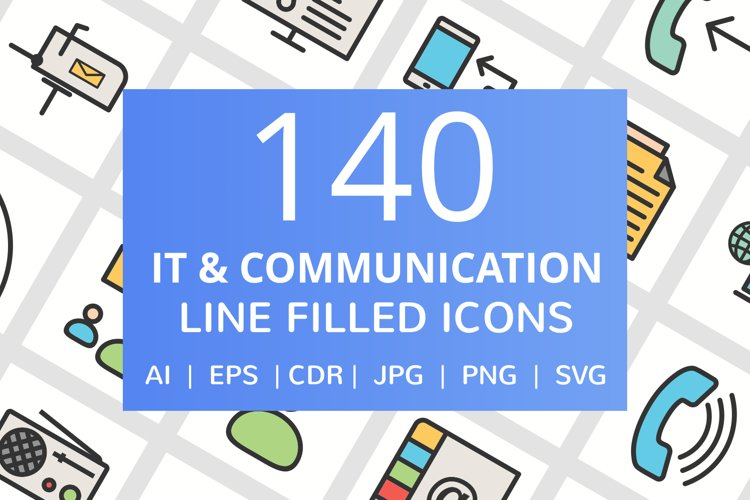 140 IT & Communication Filled Line Icons example image 1