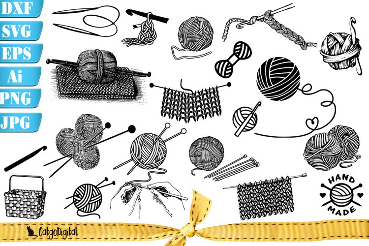 Knitting Clipart Silhouettes example image 1