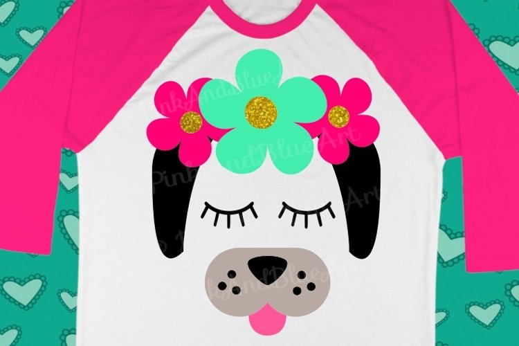 Dog Flowers Summer Girl SVG Design  example image 1