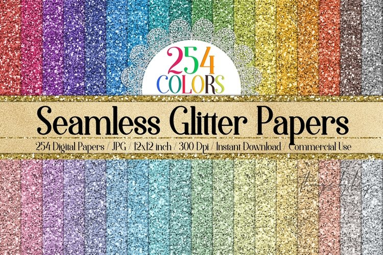 254 Seamless Glitter Digital Papers 12 x 12 inch example image 1