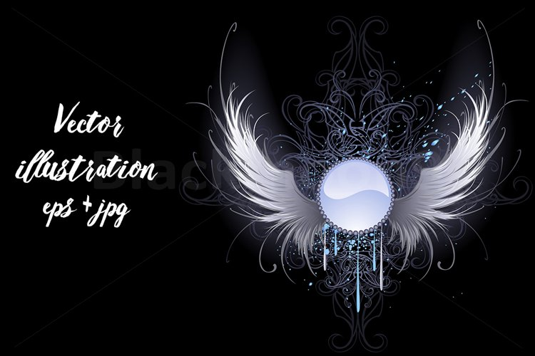 Round banner with angel wings ( T-shirt graphics ) example image 1