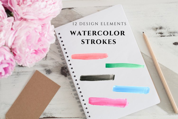 12 Watercolor Paint Strokes, Hand Painted Paint Strokes example image 1