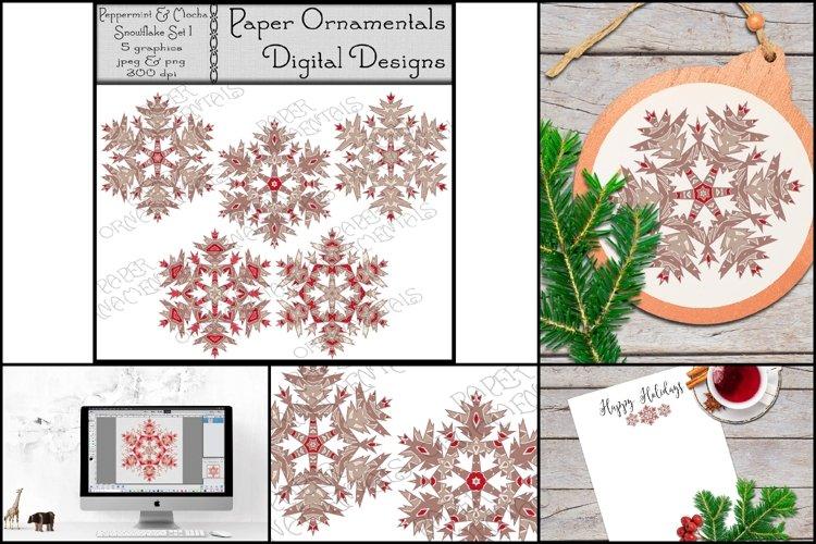 Christmas Clip Art, Peppermint & Mocha Snowflakes example image 1