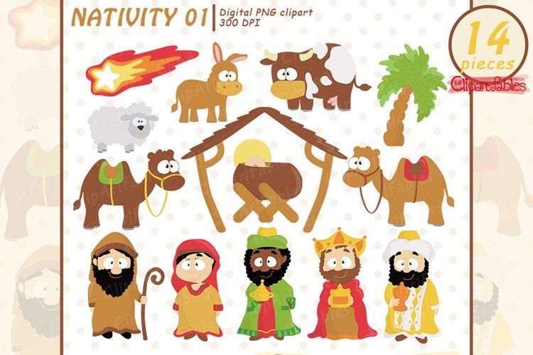 NATIVITY clipart, Cute Baby Jesus, Holy Family art, Wise men