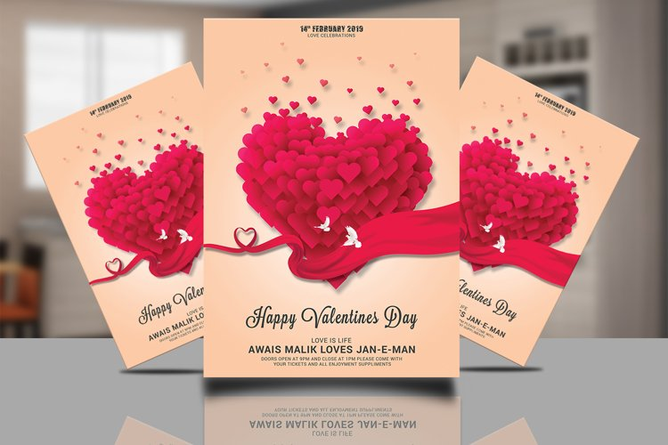 Valentines Psd Flyer Design example image 1