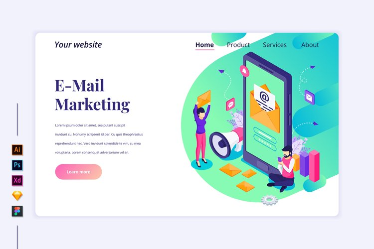 Isometric E-mail marketing concept Landing page illustration example image 1