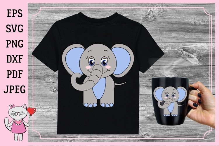 cute little baby boy elephant svg example image 1