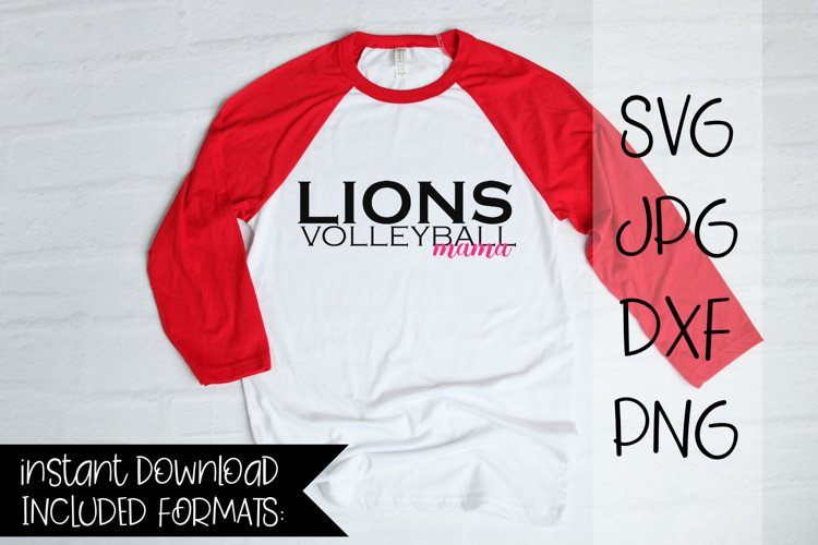 Lions Volleyball Mama, A Volleyball SVG example image 1