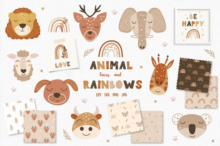 Animal Faces and Rainbow Set, Cliparts, Patterns, Alphabet example image 1