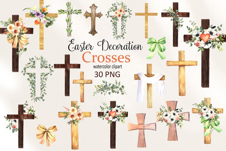 Watercolor Easter Decoration Crosses