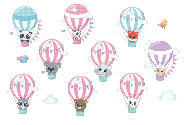Cute animals on hot air balloons, PNG, EPS, JPG, 300 DPI example image 1