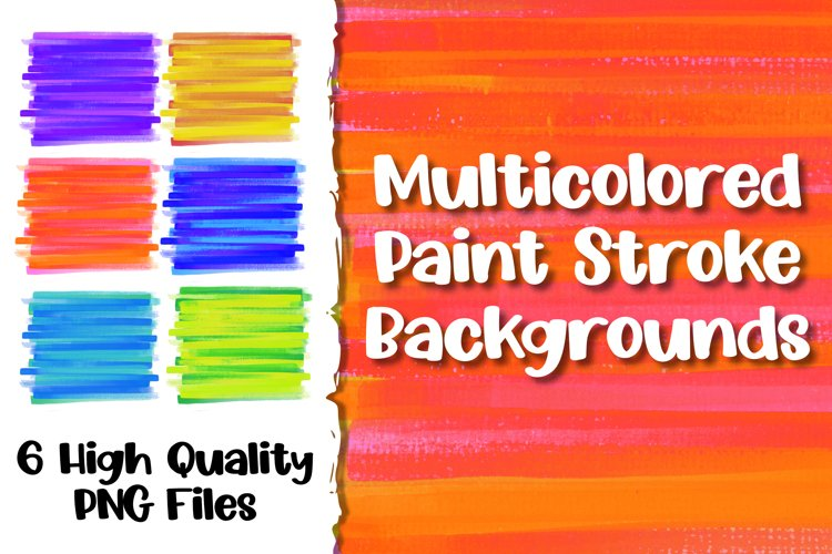 Multicolored Paint Stroke Backgrounds for Sublimation example image 1