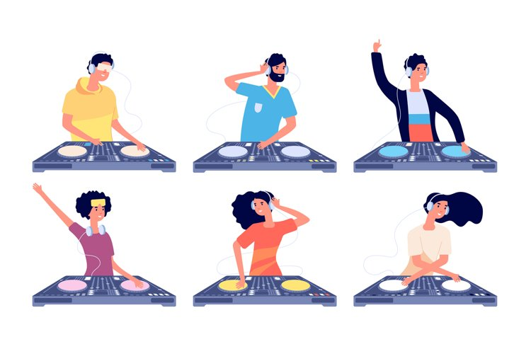 Dj characters. People with headphones and turntable mixer ma example image 1