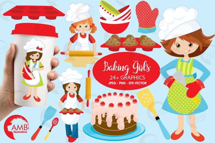 Baking clipart, cooking clipart, Girl chefs clipart, graphics and illustrations AMB-1102